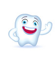 cartoon tooth character waving hand in greeting vector image vector image