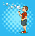 child blowing bubbles pop art vector image vector image