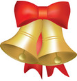 christmas bells with red ribbon vector image