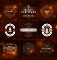 christmas ornate labels and badges set vector image vector image