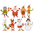 christmas santa friends cartoon characters vector image vector image