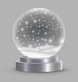 christmas snow globe isolated vector image vector image