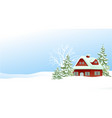 christmas winter landscape with small settlement vector image vector image