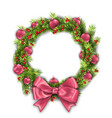 christmas wreath with pink balls and bow new year vector image