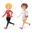 cute fashion girl walking character isolated icon vector image