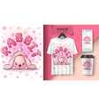 cute teddy rabbit poster and merchandising vector image vector image