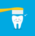 cute tooth with toothbrush vector image