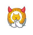 devil monacoin mascot cartoon style vector image vector image