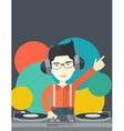 DJ with console vector image vector image