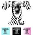 Fingerprint Alphabet Letter T vector image vector image