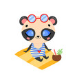 flat doodle cute cartoon summer panda bear vector image