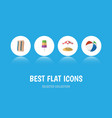 flat icon summer set of sphere parasol sundae vector image