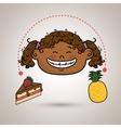 girl fruit cake dessert vector image