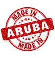 made in aruba red grunge round stamp vector image vector image