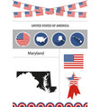 map of maryland set of flat design icons vector image vector image