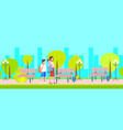 mother with schoolboy and baby boy walking in city vector image
