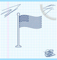 national flag usa on flagpole line sketch icon vector image vector image