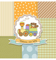 new baby announcement card with train toy vector image vector image