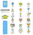 Online Education Thin Lines Color Web Icon Set vector image