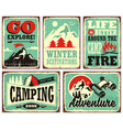 outdoor activities promotional set of posters vector image vector image