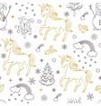 pattern with unicornstreesbirdssnowmen vector image vector image