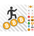 Person steps bitcoin coins icon with bonus