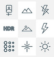photo icons line style set with lightning vector image vector image
