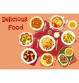 Popular dishes for lunch menu icon for food design vector image vector image