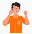 portrait an angry man talking on a mobile phone vector image vector image