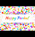purim card carnival paper confetti background vector image vector image
