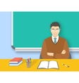 School teacher asian man at desk flat education vector image vector image