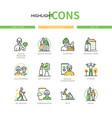 senior people - line design style icons set vector image