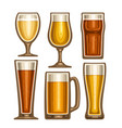 set of different beer glassware vector image vector image