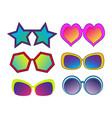 set of different sun glasses in pop art retro vector image