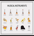 set of icons musical instruments vector image vector image