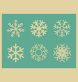 set of vintage icons snowflakes vector image