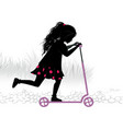 silhouette of little girl on kick-scooter vector image