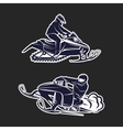 Snowmobiling Silhouette on black background vector image vector image