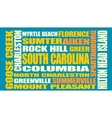 South Carolina state cities list vector image