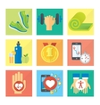Sport and healthy life concept flat icon set of vector image vector image