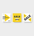 square white and yellow web banner templates vector image vector image