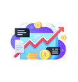 stock market with coins vector image vector image