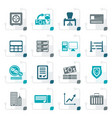 stylized bank business finance and office icons vector image vector image