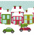 town street with houses and cars in winter time vector image vector image