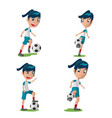 Woman soccer player character pose set