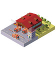 3d isometric fire station municipal vector image vector image