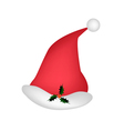 A Lovely Red Santa Hat On White Background vector image