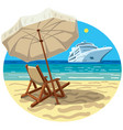 beach resort and cruise ship vector image vector image