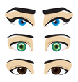 blue green brown eyes vector image vector image