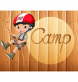 Boy with helmet climbing up the rope vector image vector image